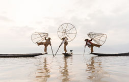 The leg-rowing fishermen of Inle Lake – Myanmar royalty free stock photos