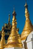 Yangon, Myanmar - 19 de fevereiro de 2014: Feche acima do templ dourado de buddha Fotografia de Stock Royalty Free