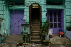Yangon, Myanmar. Facade of an old colonial house in Yangon, Myanmar Stock Photography