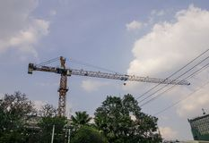 Crane of construction site royalty free stock photos