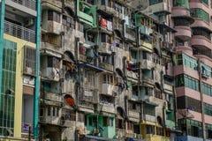 Old apartments in Yangon, Myanmar royalty free stock image