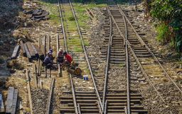 People working on the rail track stock image