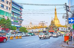 The busy way to Sule Pagoda, Yangon, Myanmar Stock Photo