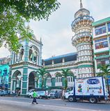 The oldest mosque in Yangon, Myanmar. YANGON, MYANMAR - FEBRUARY 14, 2018: The facade of Surti Sunni Jammah Mosque - the oldest Muslim temple in city, located in Royalty Free Stock Image