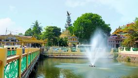 The pond in temple of Yangon, Myanmar stock footage