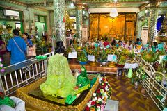 Interior of Botataung Pagoda; a famous complex in Yangon; Myanmar stock image