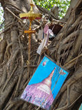 Yangon, Myanmar - May 4, 2014: Various religious items stuffed i. Various religious items are stuffed into the roots of a tropical tree in Burma. Local community Stock Image