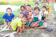 YANGON, MYANMAR - November 25, 2015: Traditional family in Myanm Royalty Free Stock Photos