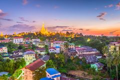 Yangon, Myanmar Pagoda. Yangon, Myanmar skyline with Shwedagon Pagoda royalty free stock photos