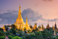 Yangon Myanmar at Shwedagon Pagoda. Yangon, Myanmar view of Shwedagon Pagoda at dusk royalty free stock photo
