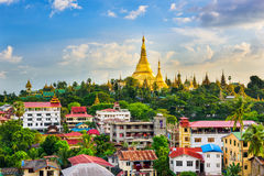 Yangon Myanmar Skyline. Yangon, Myanmar city skyline with Shwedagon Pagoda Stock Images