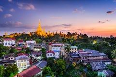 Yangon Myanmar. Yangon, Myanmar skyline with Shwedagon Pagoda royalty free stock image