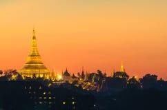 Yangon, Myanmar view of Shwedagon Pagoda at dusk. Royalty Free Stock Images