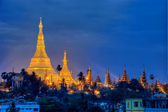 Yangon by night. Night Illuminations Shwedagon pagoda in the city of Yangon, Burma Royalty Free Stock Photo