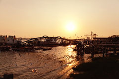 Yangon pier at sunset Royalty Free Stock Photography