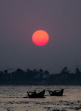Yangon river sunset. Silhouette of life style in Yangon river sunset Royalty Free Stock Photos