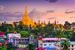 Yangon Skyline. Yangon, Myanmar skyline at Shwedagon Pagoda Royalty Free Stock Images