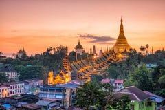 Yangon skyline with Shwedagon Pagoda in Myanmar. Yangon skyline at twilight with Shwedagon Pagoda in Myanmar royalty free stock image