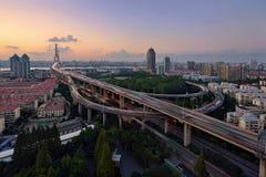 Yangpu-Brücke, Shanghai Stockbilder