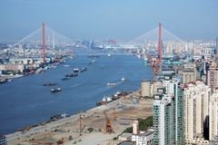 Yangpu bridge and Huangpu river, Shanghai Royalty Free Stock Photography