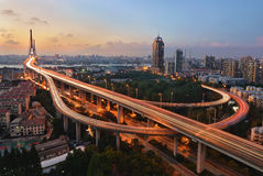 Yangpubrug, Shanghai Stock Foto's