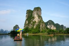 yangshou för flod för raft för bambuporslinli Fotografering för Bildbyråer