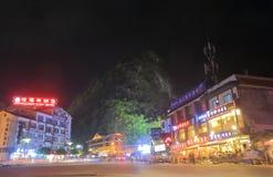 Yangshou nocy grodzki pejzaż miejski Yangshou Chiny Obrazy Stock