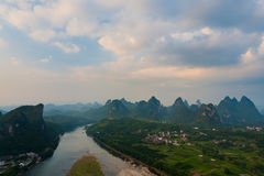 Yangshuo Aerial View Karst Formations Royalty Free Stock Photo