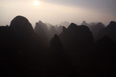 Yangshuo. Amaizing Yangshuo valley in China from a hot air balloon at sunset Royalty Free Stock Photo
