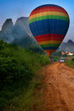 Yangshuo Balloon Flight IV. Balloon flight through karst peaks in Yangshuo, Guilin, China Stock Photography