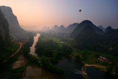 Yangshuo Balloon Flight IV. Balloon flight through karst peaks in Yangshuo, Guilin, China Stock Photo