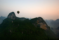 Yangshuo Balloon Flight. Balloon flight through karst peaks in Yangshuo, Guilin, China Stock Image