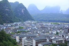 Yangshuo. Buildings and hills in yangshuo guilin,china Royalty Free Stock Photography