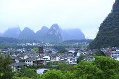 Yangshuo. Buildings and hills in yangshuo guilin,china Stock Photos