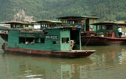 Yangshuo, China: Covered Wooden River Ferry Royalty Free Stock Image