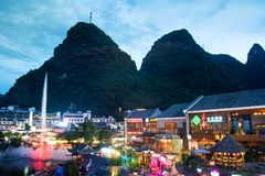 Yangshuo, China - July 27, 2018: Yangshuo scenic city park a main entertainment and leisure spot. Yangshuo, China - July 27, 2018: Yangshuo scenic city park a stock photos