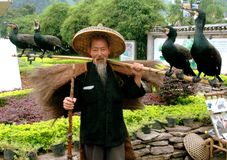 Yangshuo, China: Man with Four Comorrant Birds Royalty Free Stock Image