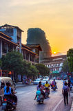 YANGSHUO, CHINA - SEPTEMBER 23 2016: Stunning sunset on the crow Stock Image