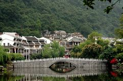 Yangshuo, China: View of City and Bridge Royalty Free Stock Photos