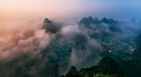 Yangshuo city. Beautiful mountains with fog When the Sunrise, in Yangshuo Guilin china Royalty Free Stock Photos