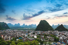 Yangshuo county town at sunset Royalty Free Stock Photography