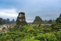 Yangshuo county town surrounded by mountains Royalty Free Stock Image