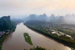 Yangshuo at early morning. Aerial view of li river at early morning in yangshuo county,China Royalty Free Stock Photos