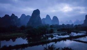 Sunrise near the li river Stock Photos