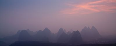 Yangshuo, Guilin in China. Rock formations around Li River Stock Photography