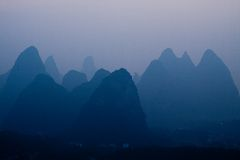 Yangshuo, Guilin in China. Rock formations around Li River Stock Image