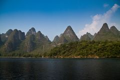 Yangshuo, Guilin in China. Rock formations around Li River Royalty Free Stock Photos