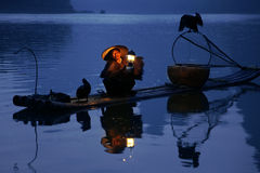 YANGSHUO - JUNE 18: Chinese man fishing with cormorants birds in Stock Image