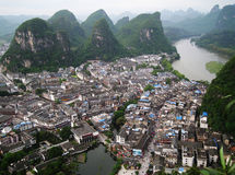 Yangshuo. And the karst hills from a bird's flight Stock Image