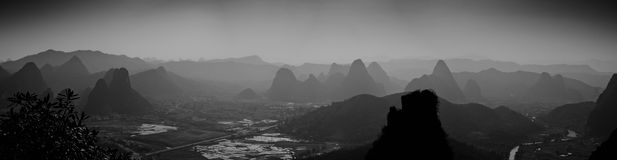 Yangshuo landscape. View from moon hill stock image